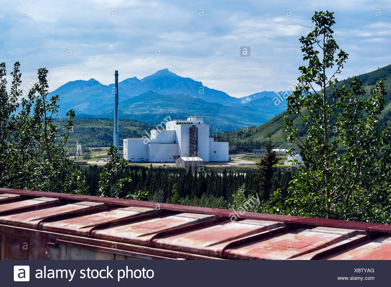 Coal power plant in Healy, Alaska, featuring state-of-the-art coal combustors and pollution controls, has passed its environment - Stock Image