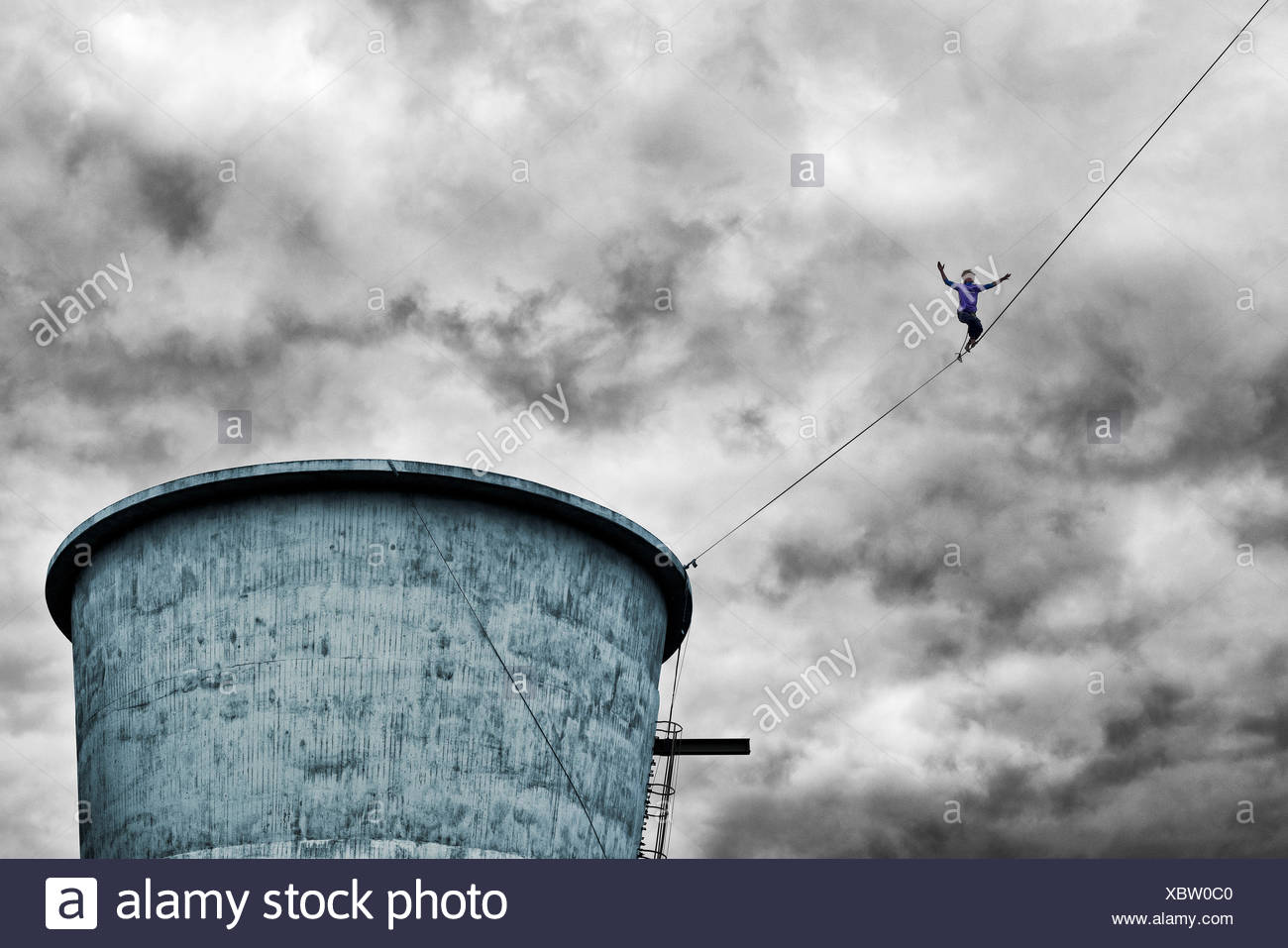 High rope artiste, extra layer in 2015, west park Bochum, North Rhine-Westphalia, Germany, Europe, dysentery area - Stock Image