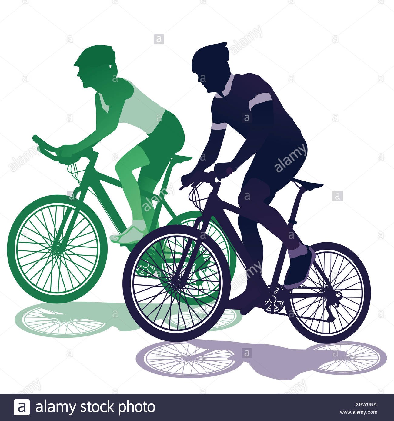 a couple on a bicycle - Stock Image
