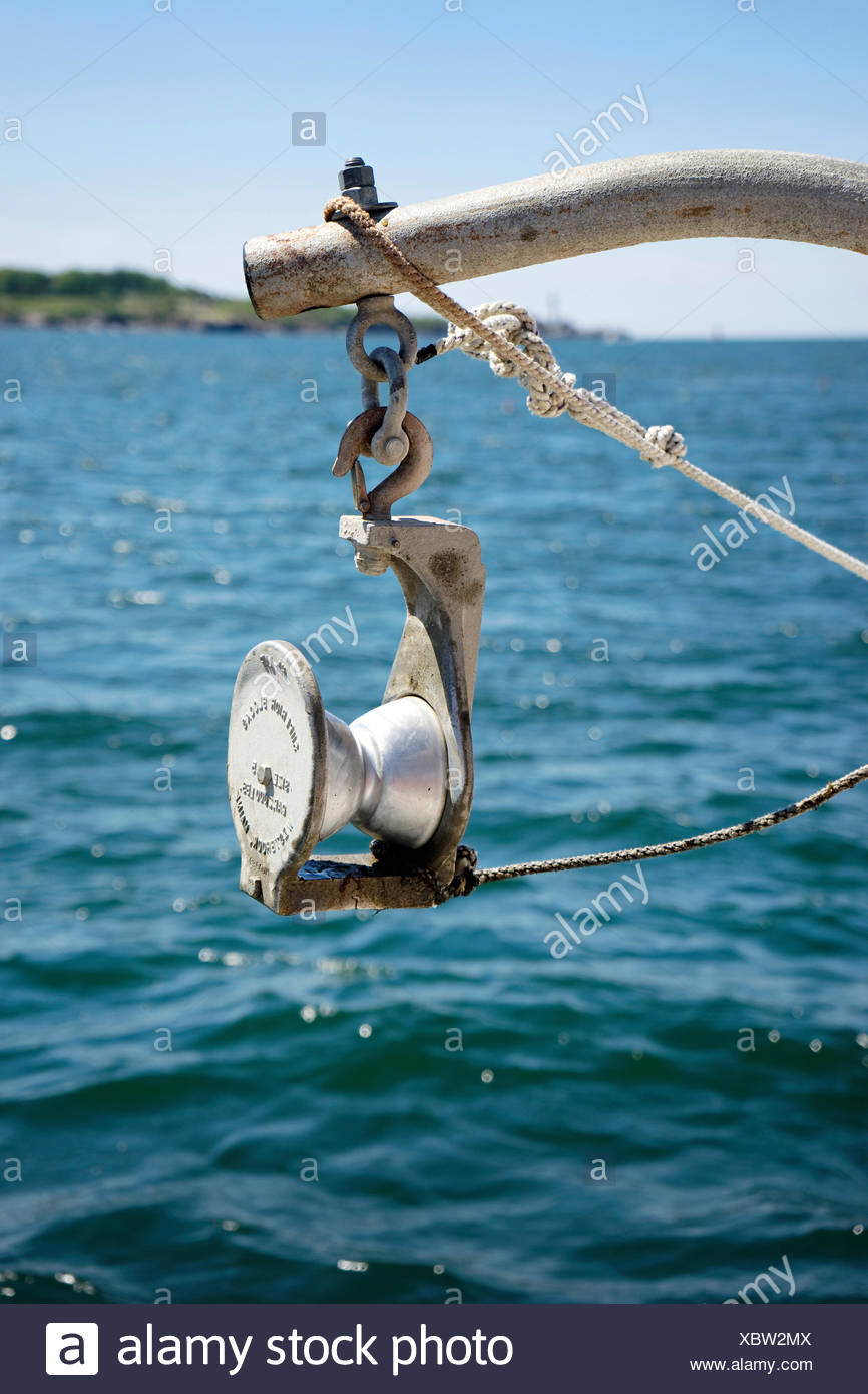 Pulley for hauling lobster traps - Stock Image