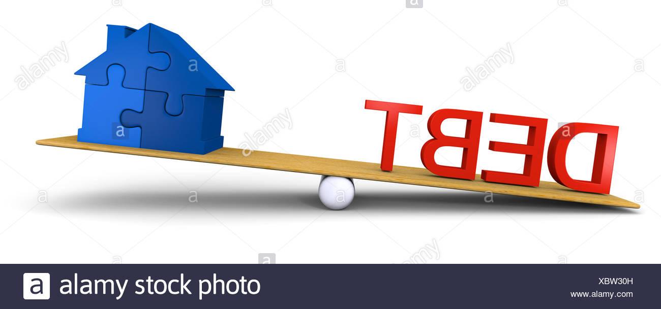 Debt versus house - Stock Image