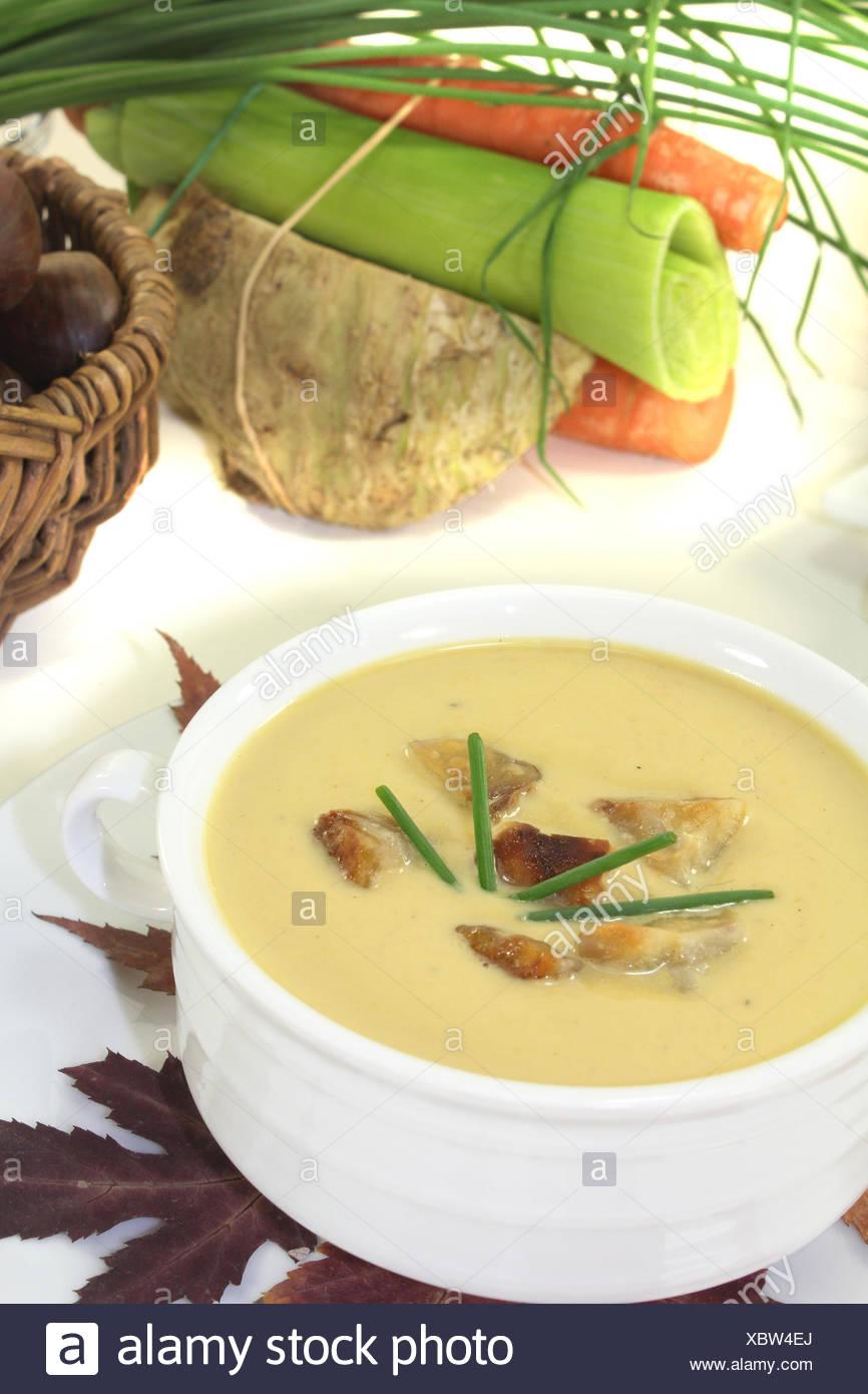 sweet chestnut soup - Stock Image