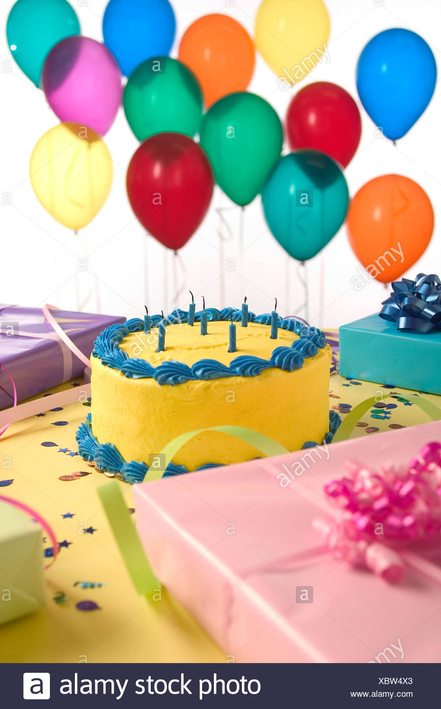 Remarkable Birthday Cake And Presents With Balloons Stock Photo 282679771 Funny Birthday Cards Online Elaedamsfinfo