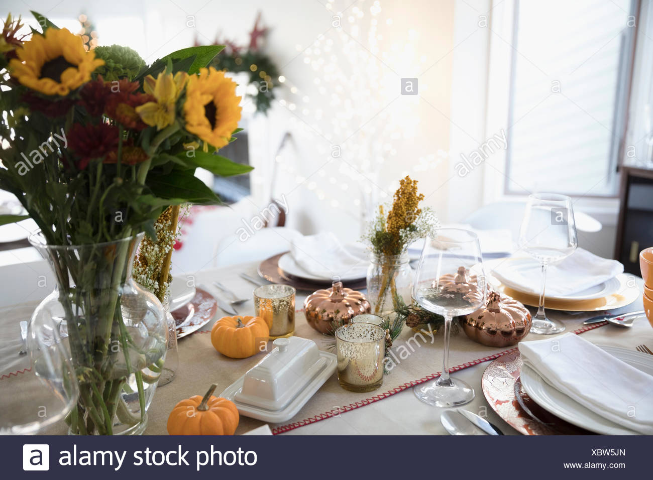 Sunflower Bouquet And Pumpkin Decorations On Thanksgiving