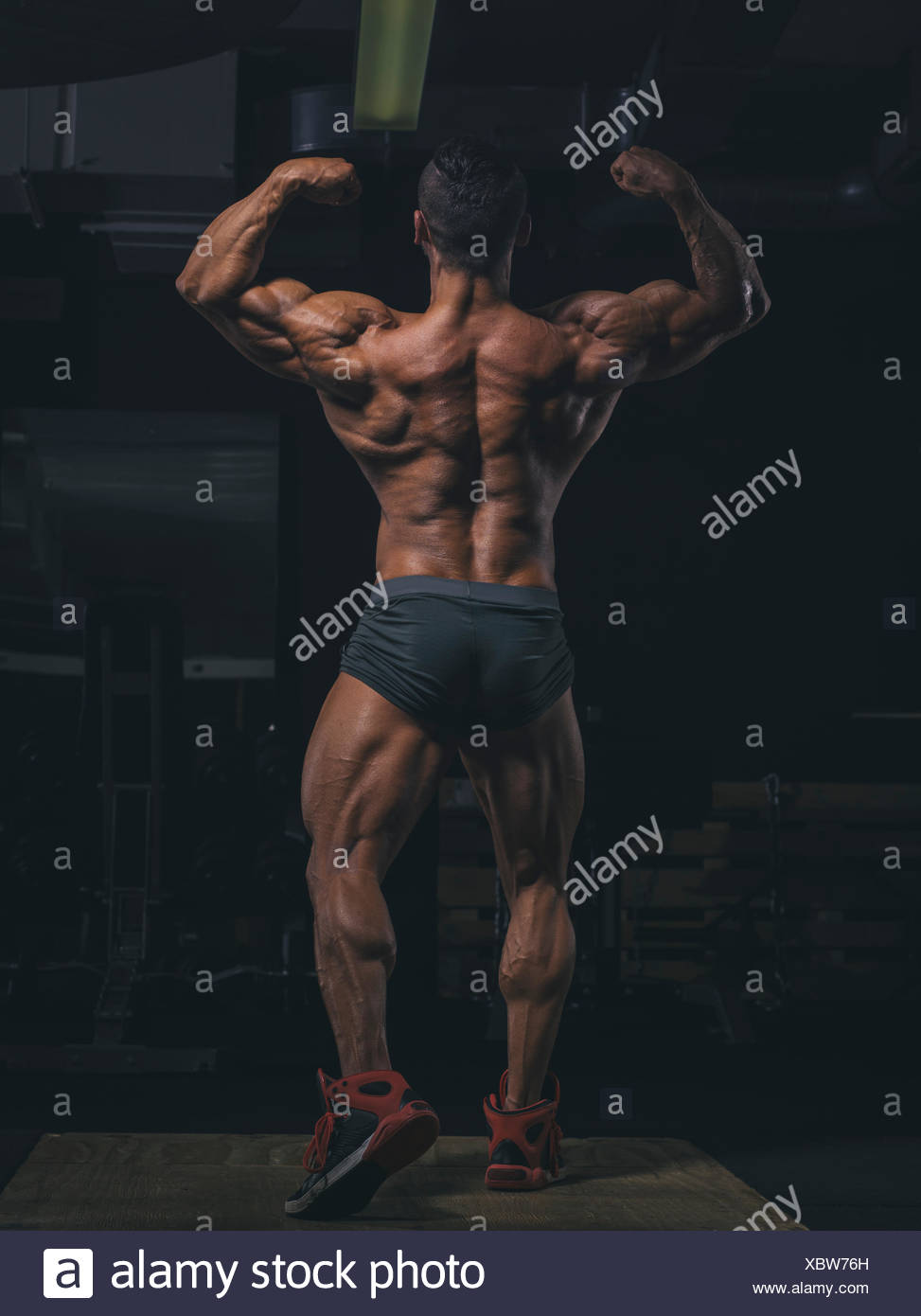 Bodybuilder pperfroming a back double biceps pose in gym - Stock Image