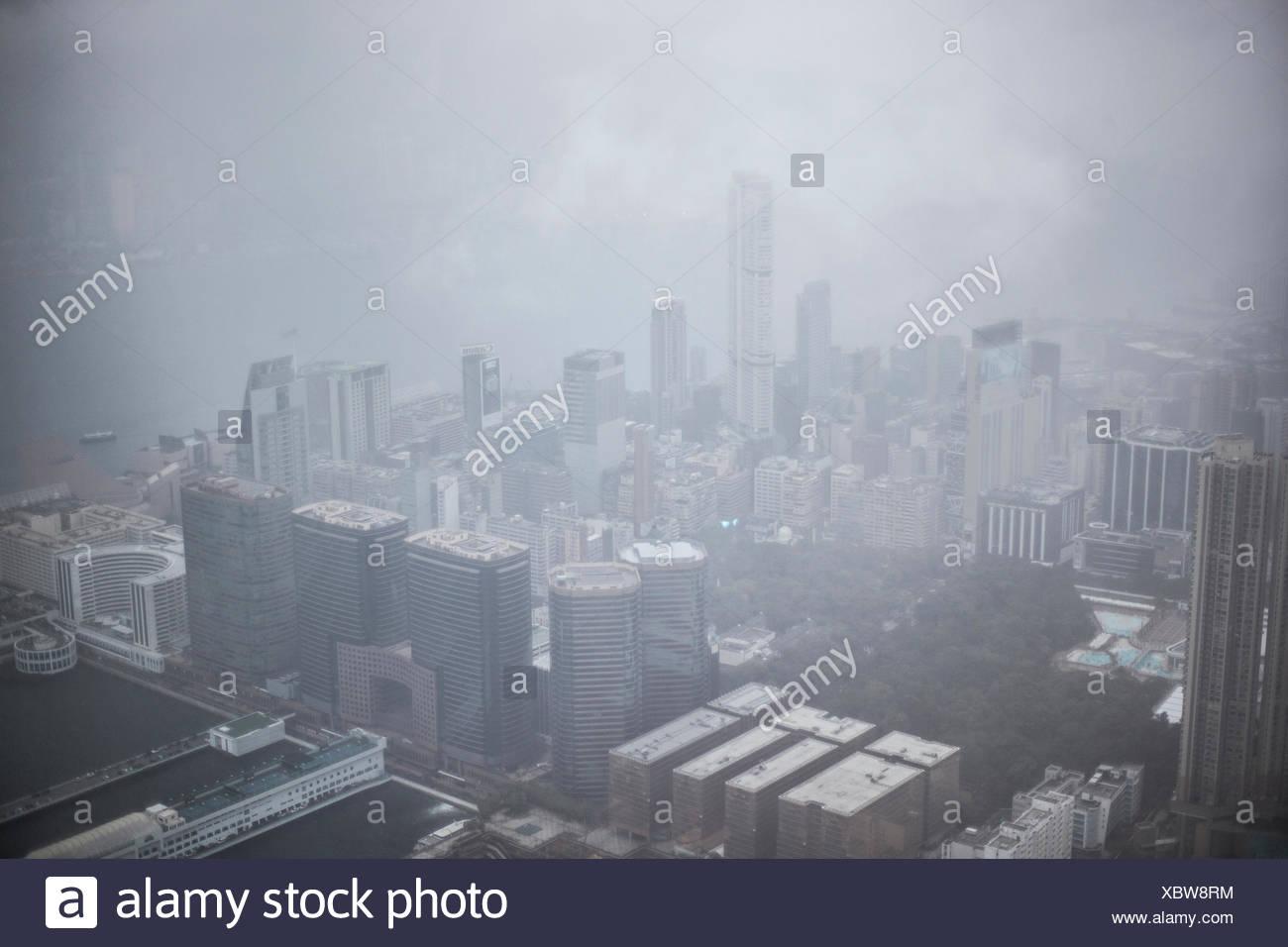 Hong Kong during a rainstorm - Stock Image