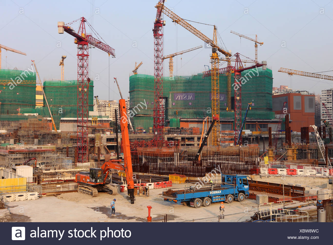 Hong Kong, China, construction of the Station Express Rail Link West Kowloon Terminus - Stock Image