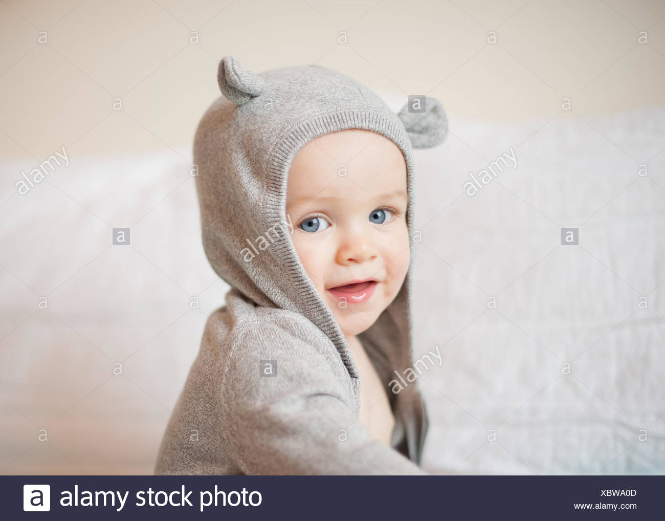 Portrait of boy wearing a hooded top - Stock Image