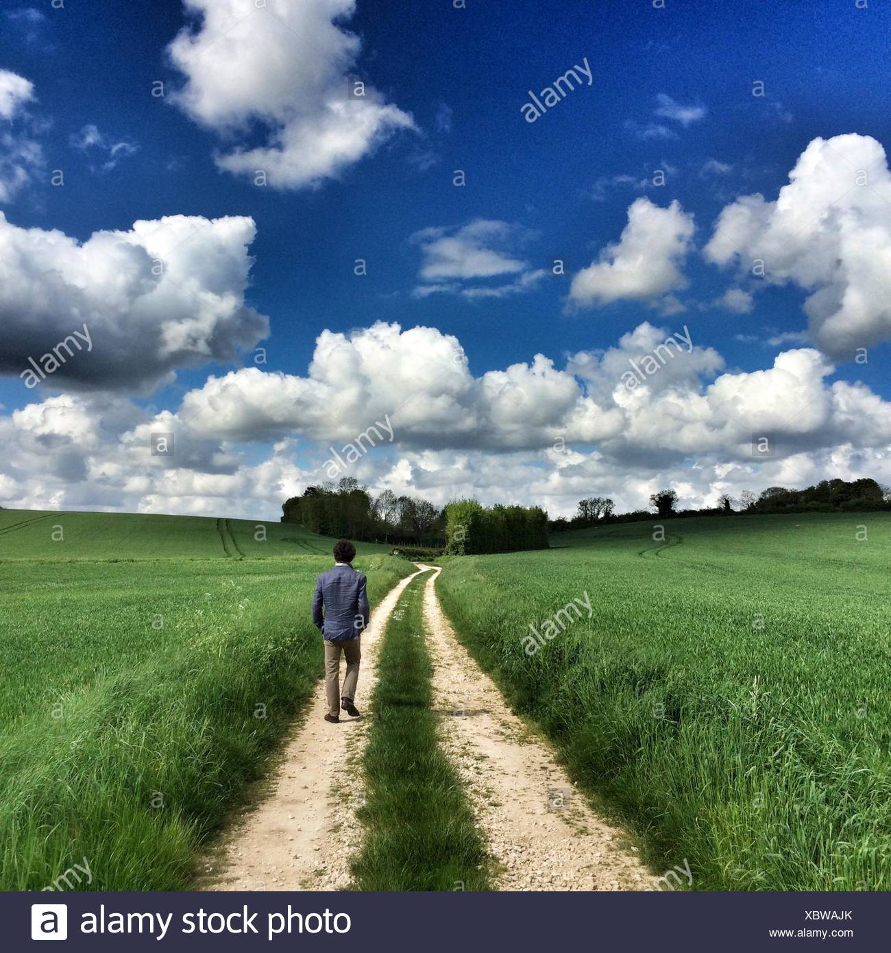 Rear View Of Man Walking On Dirt Road - Stock Image