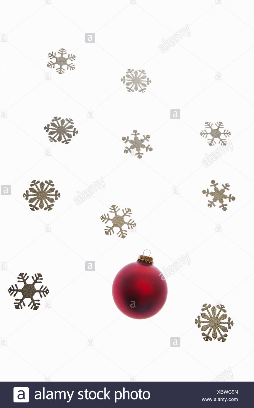 Bauble and snowflake decorations - Stock Image
