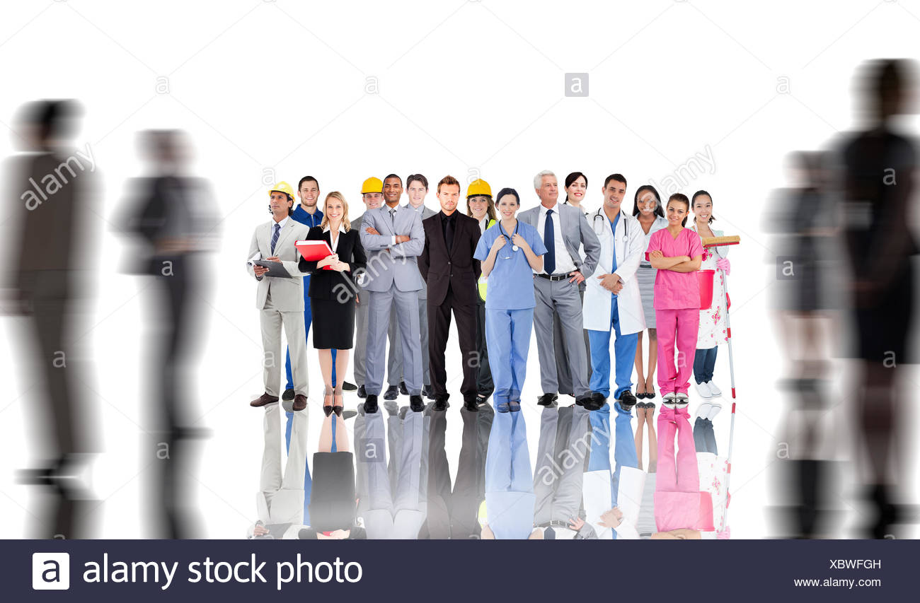 Composite image of smiling group of people with different jobs - Stock Image
