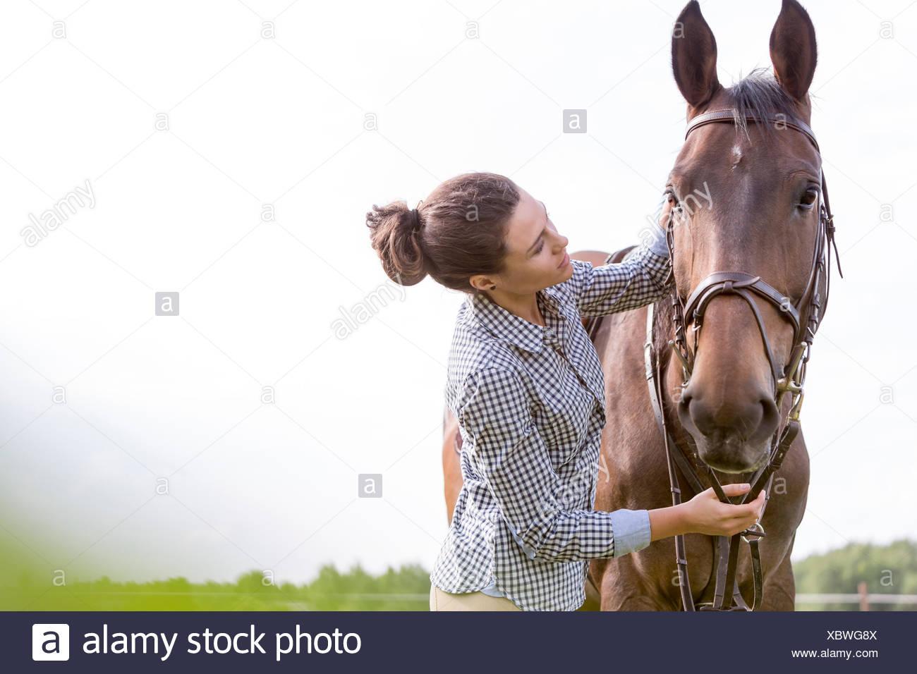 Woman petting horse - Stock Image