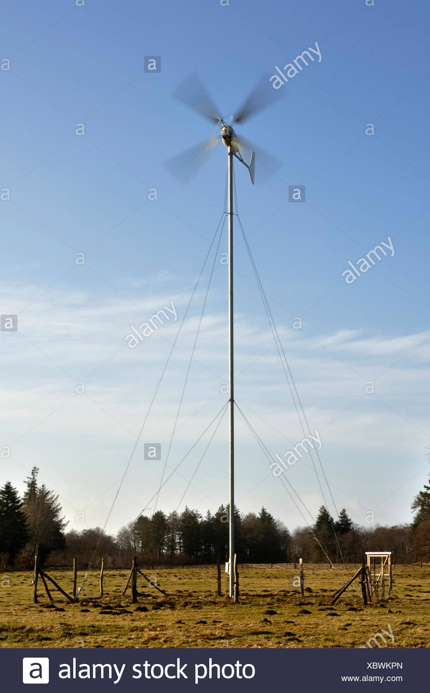Small wind turbine, wind generator Stock Photo