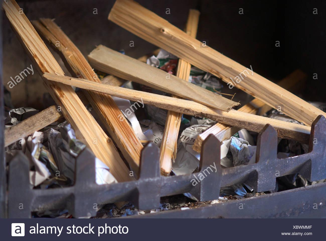 Wood inside a fireplace - Stock Image