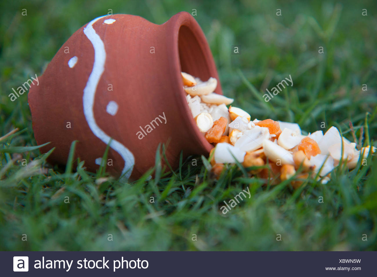 Ingredients spilling out of earthen pot - Stock Image