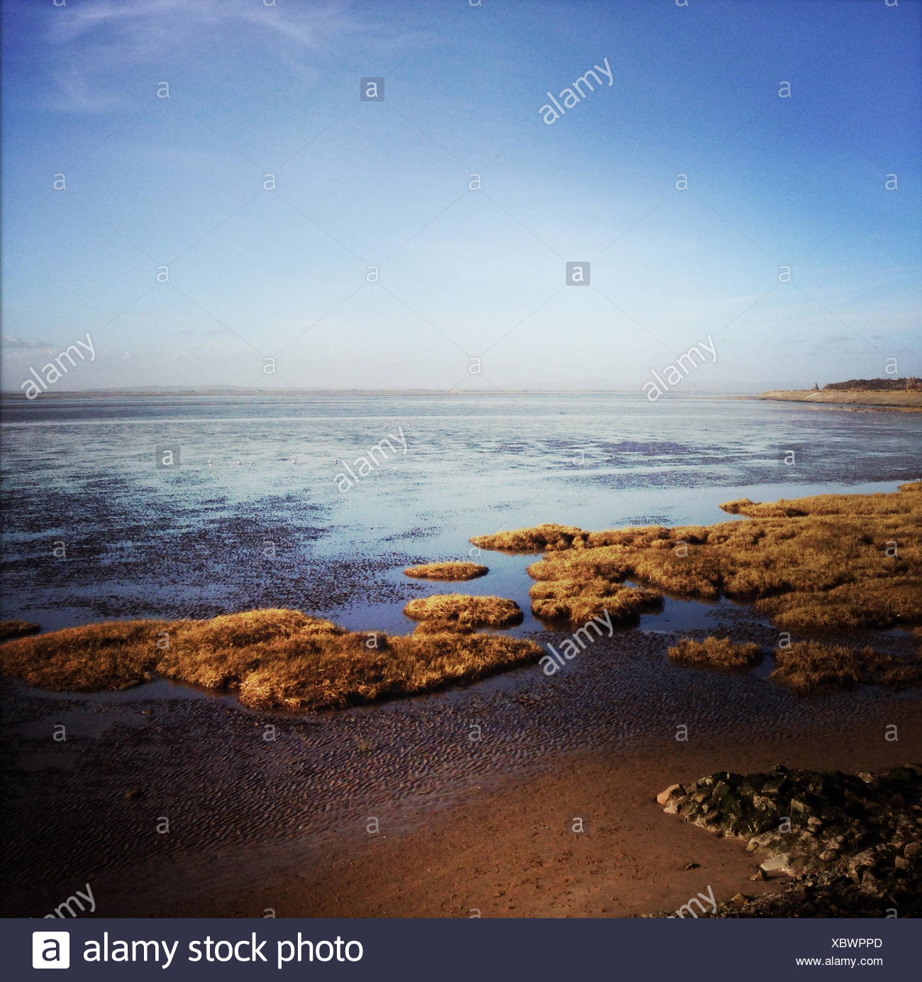England, Lancashire, Seascape on sunny day - Stock Image
