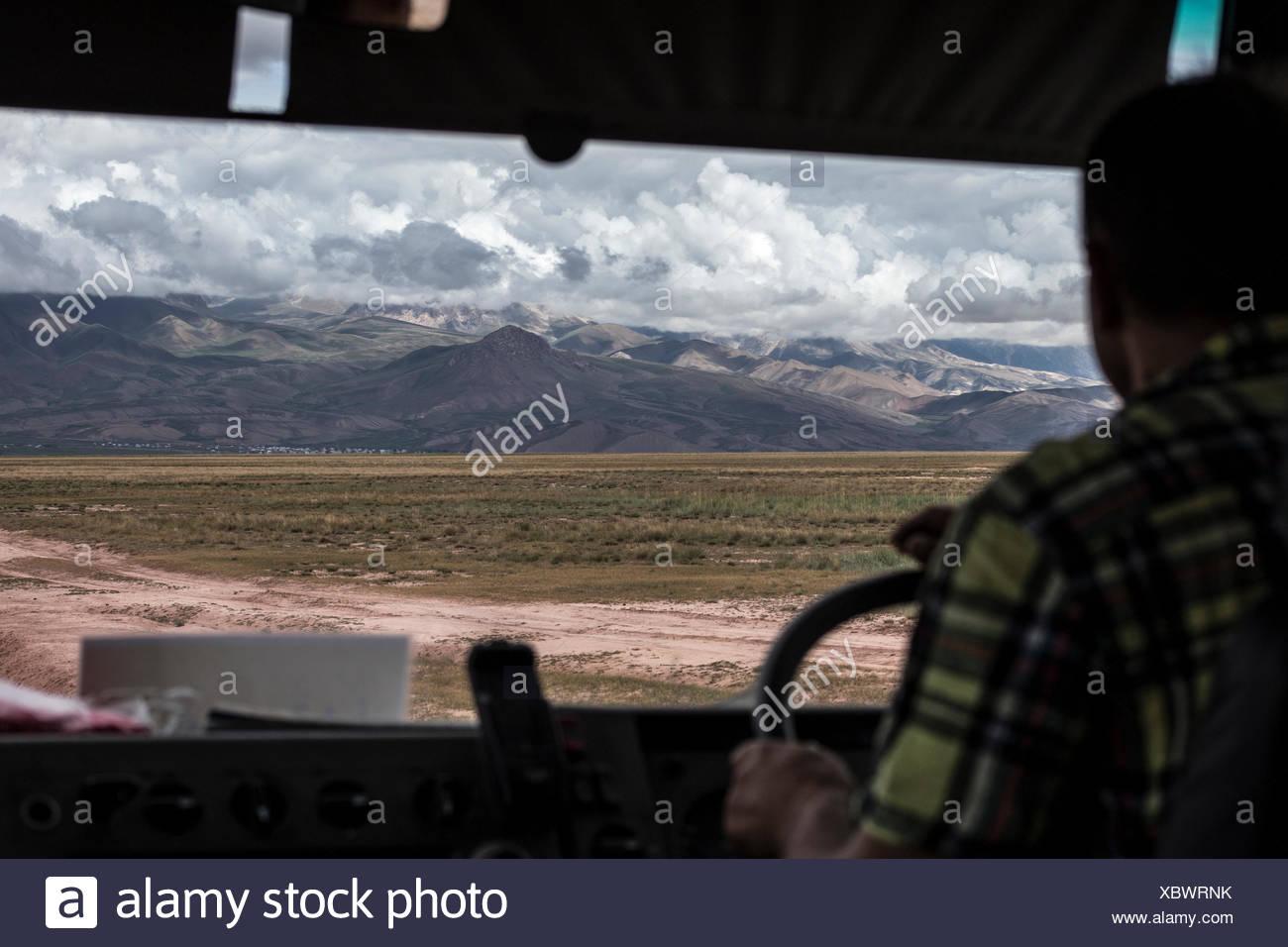 Mountains around the basecamp of Peak Lenin Stock Photo