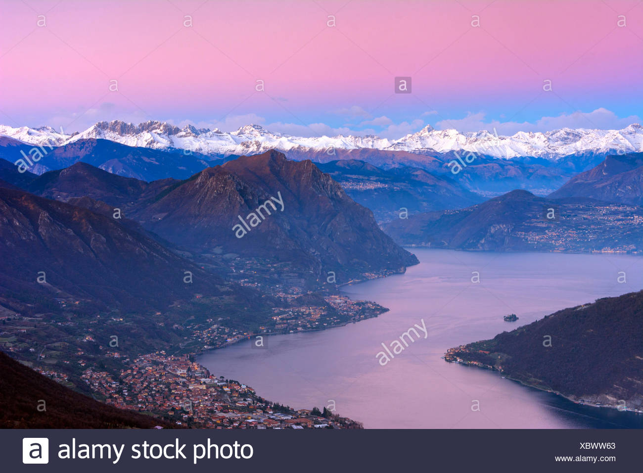 Lake Iseo, at dawn, province of Brescia, Italy - Stock Image