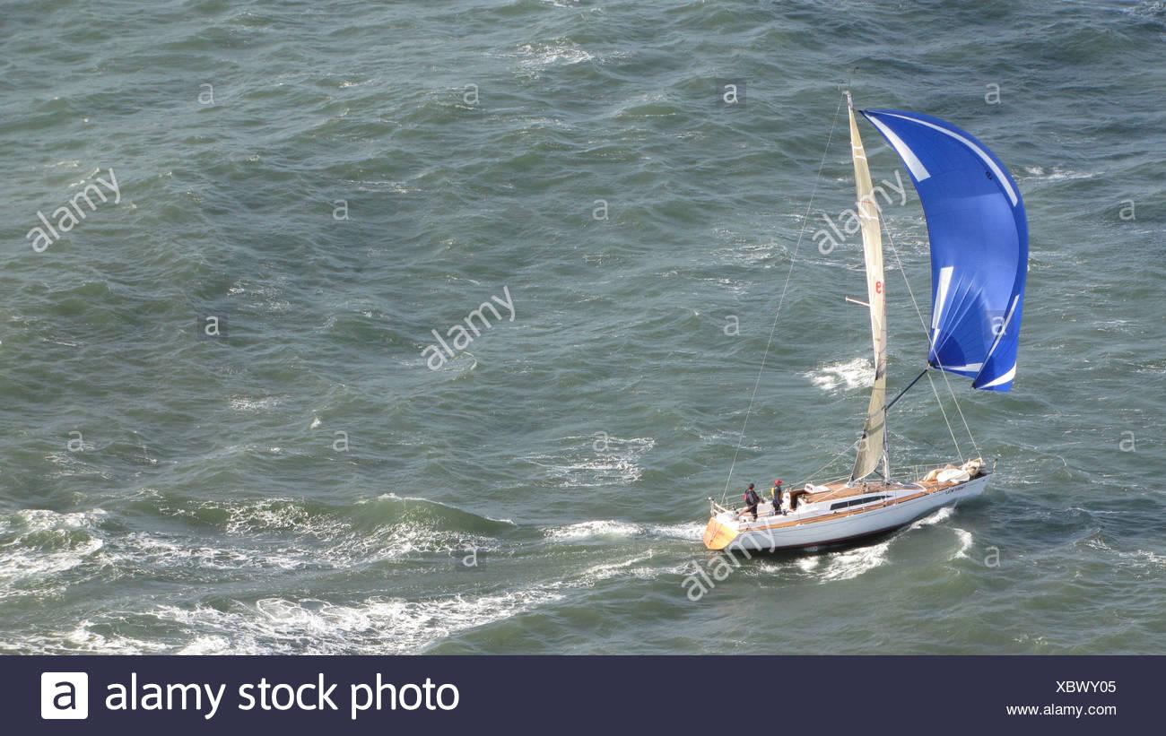Sailboat sailing in the bay of San Francisco, USA, California, San Francisco - Stock Image