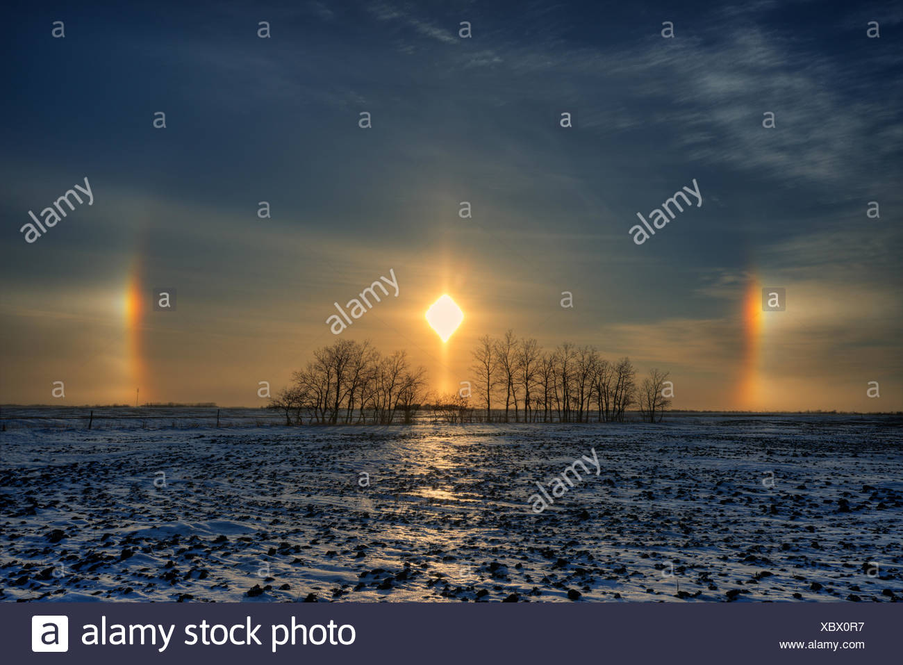 Sundogs on the Canadian prairie Lorette Manitoba Canada - Stock Image