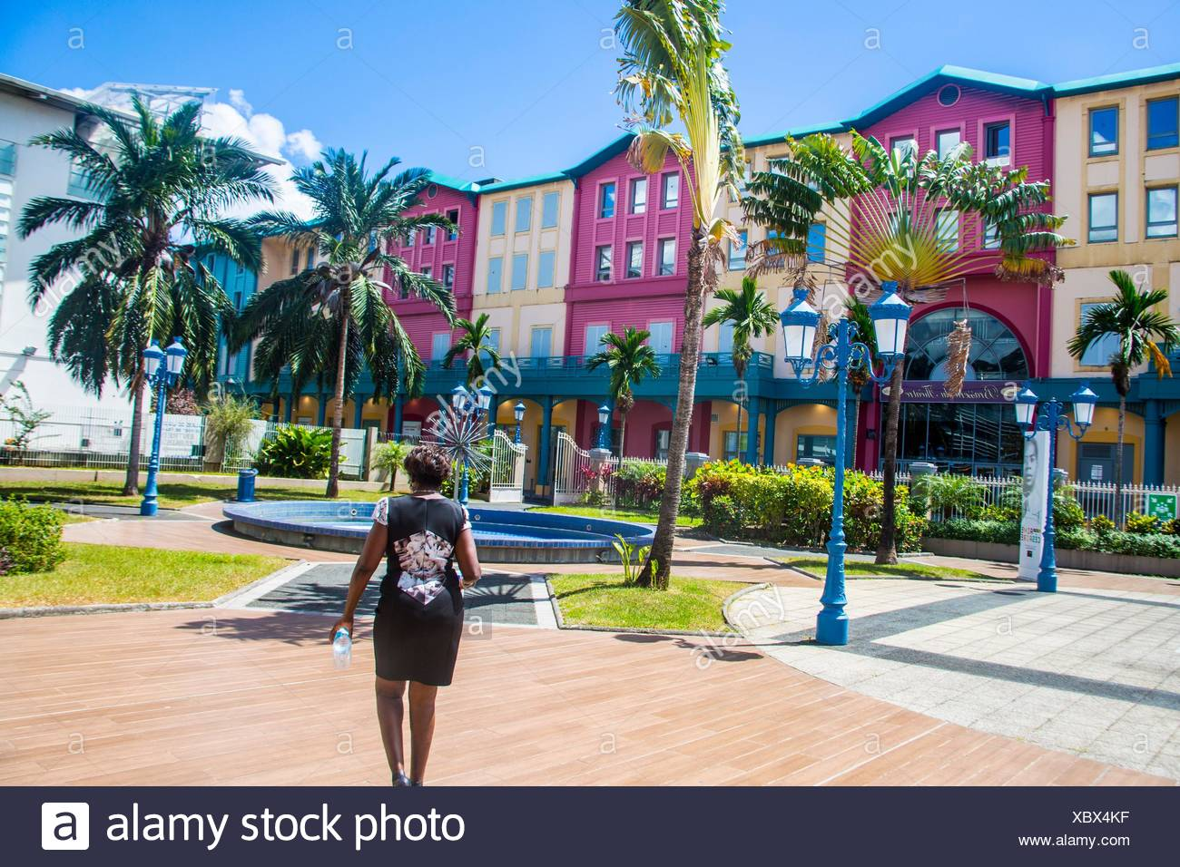 Beautiful palm tree typical to Martinique looking like a fan next to a old fashion lamp post agains a incredible blue sky. We can see the gorgeous - Stock Image