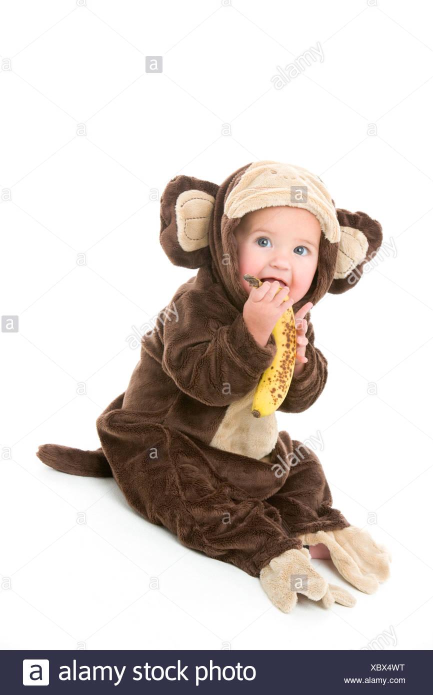 Baby in monkey costume holding banana  sc 1 st  Alamy & Baby in monkey costume holding banana Stock Photo: 282701716 - Alamy