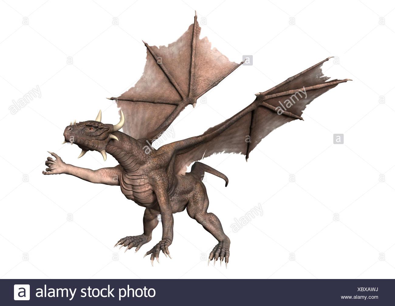 3D Rendering Fantasy Dragon on White - Stock Image