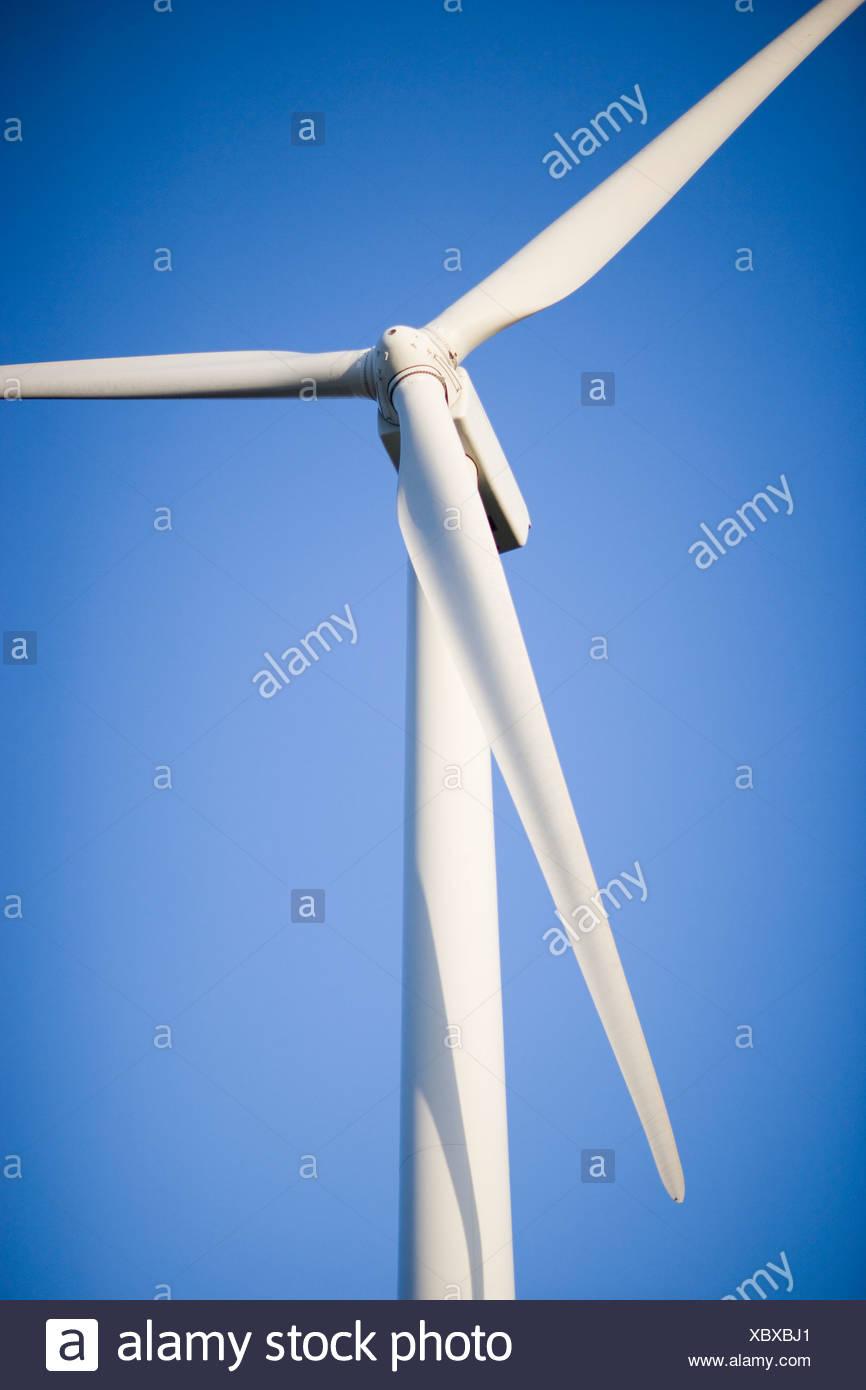 USA, Texas, Roscoe County, wind turbine against blue sky