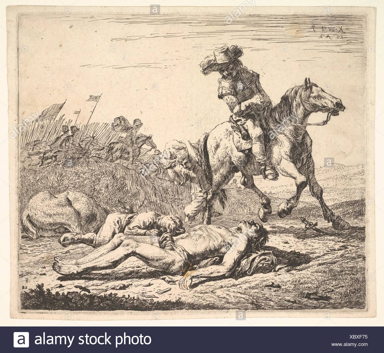 Battlefield With Horseman Looking Over His Left Shoulder Toward Stripped Corpse On The Ground A