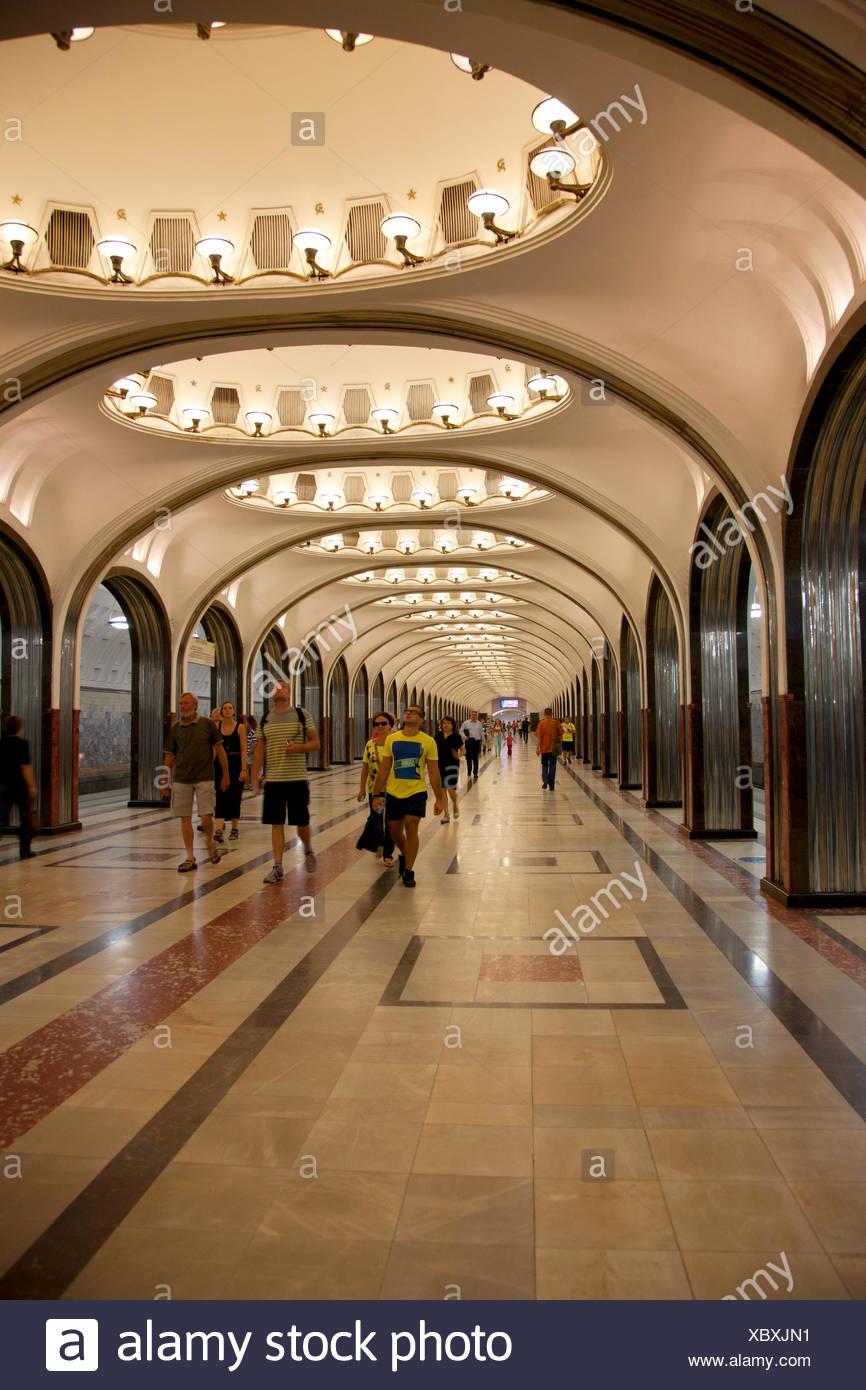 Mayakovskaya Subway Station, Moscow - Stock Image