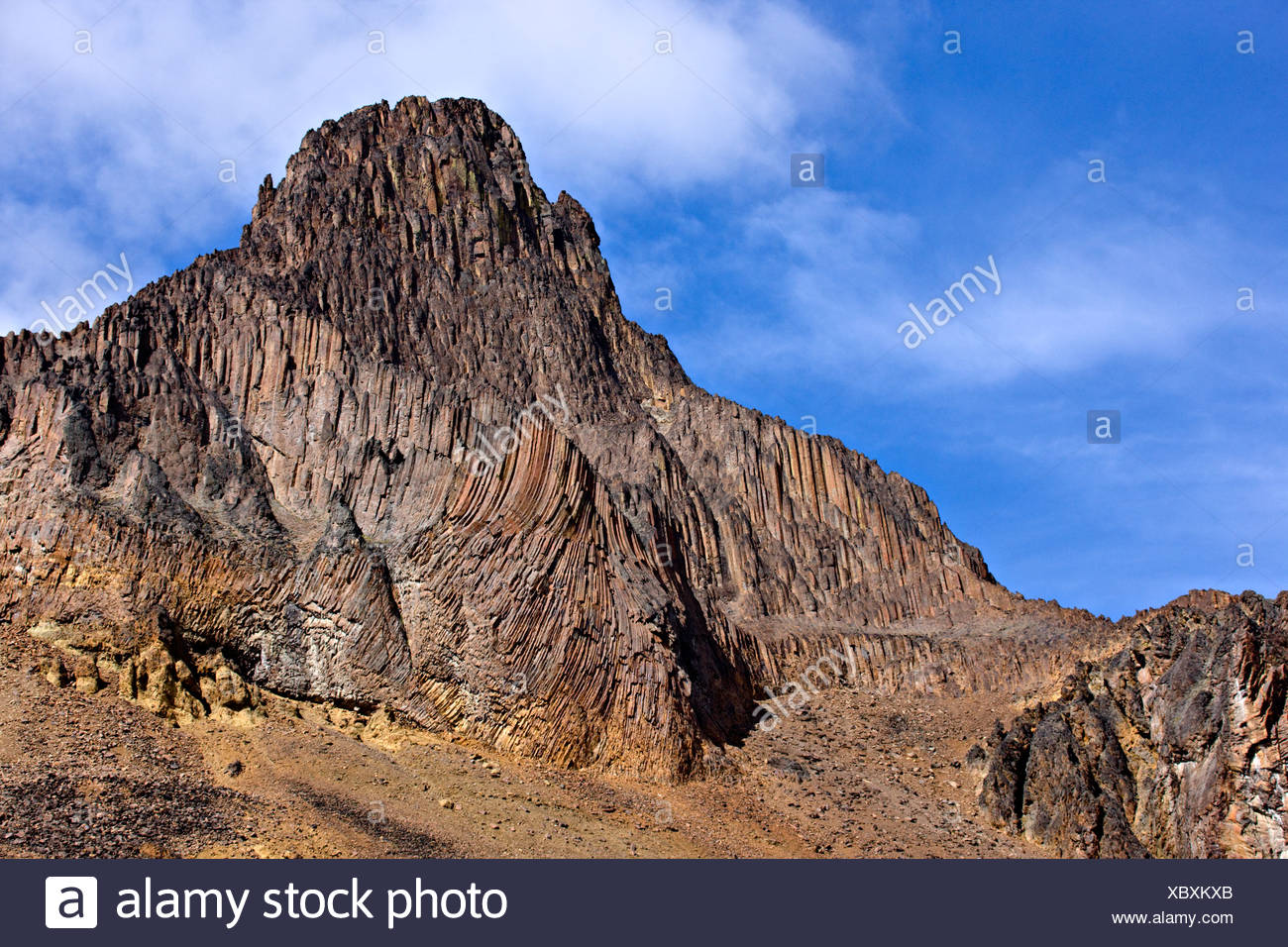 Volcanic landscape & Pipe Organ Mountain in the Illgachuz Mountains of Itcha-Illgachuz Park in British Columbia Canada - Stock Image