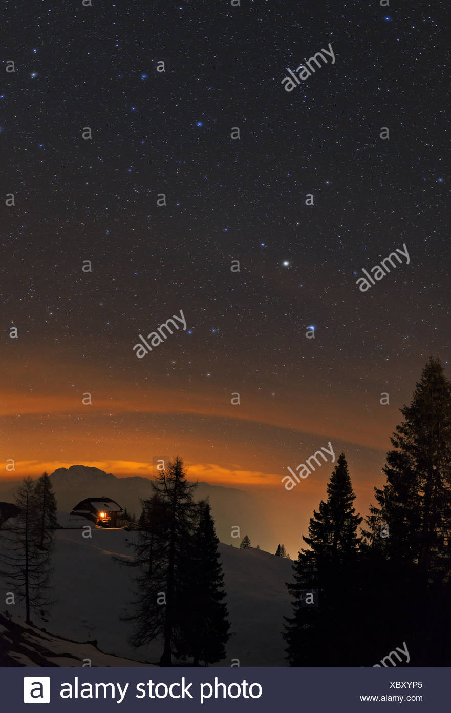 Starry sky with planet Saturn, the bright spot in