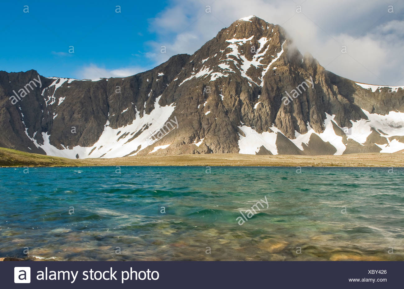 Scenic view of North Suicide Peak and Rabbit Lake, Chugach State Park, Southcentral Alaska, Summer - Stock Image