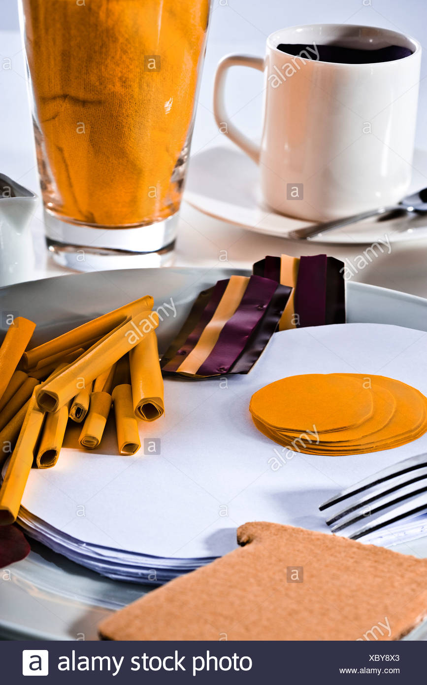 Food concept, fake breakfast constructed from paper - Stock Image