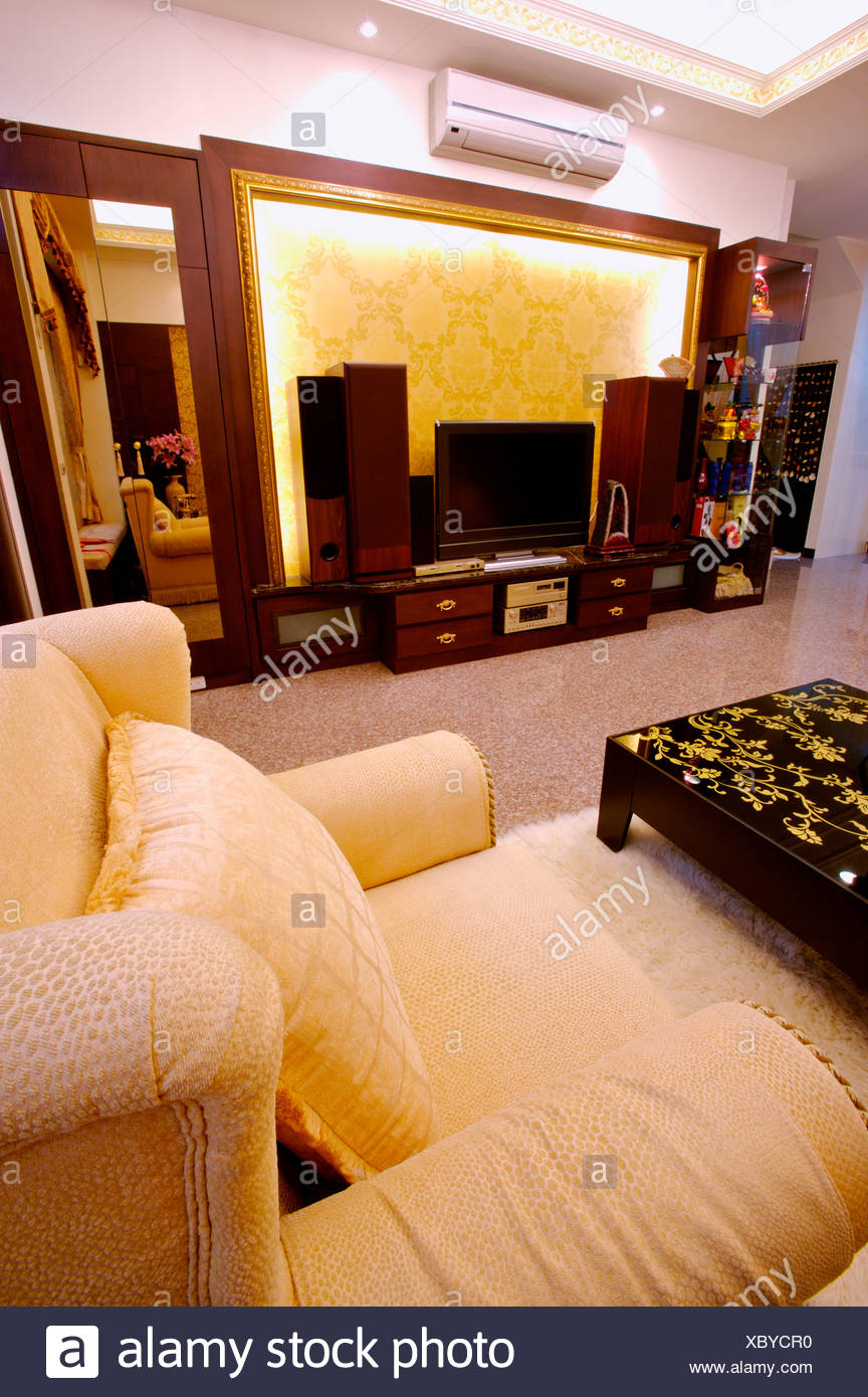 Cosy and furnished living room - Stock Image