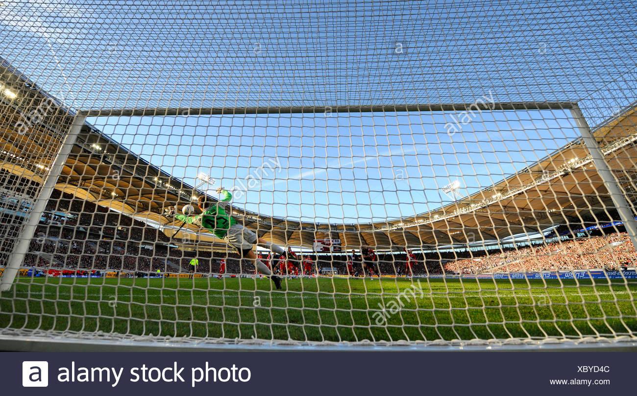 Goal Gottlieb-Daimler-Stadion (arena) Stuttgart Baden-Wuerttemberg Germany - Stock Image