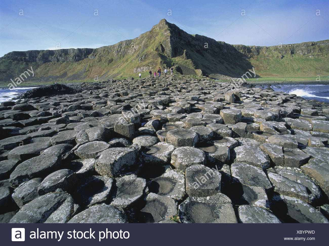 Northern Ireland, county Antrim, bile coast, Giant's Causeway, tourist Ireland, Northern Ireland, coast, basalt, basalt rock, formation, Volcanically, place of interest, nature miracle, coast, outpouring rock, volcano rock, lava rock, cliff coast paragraph, cliff coast Stock Photo