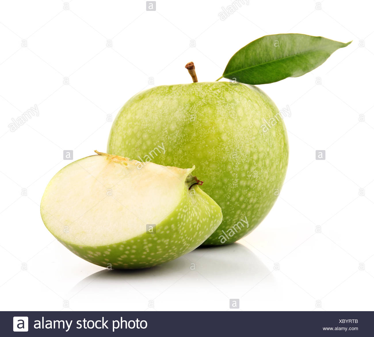 Ripe green apple with slices isolated - Stock Image