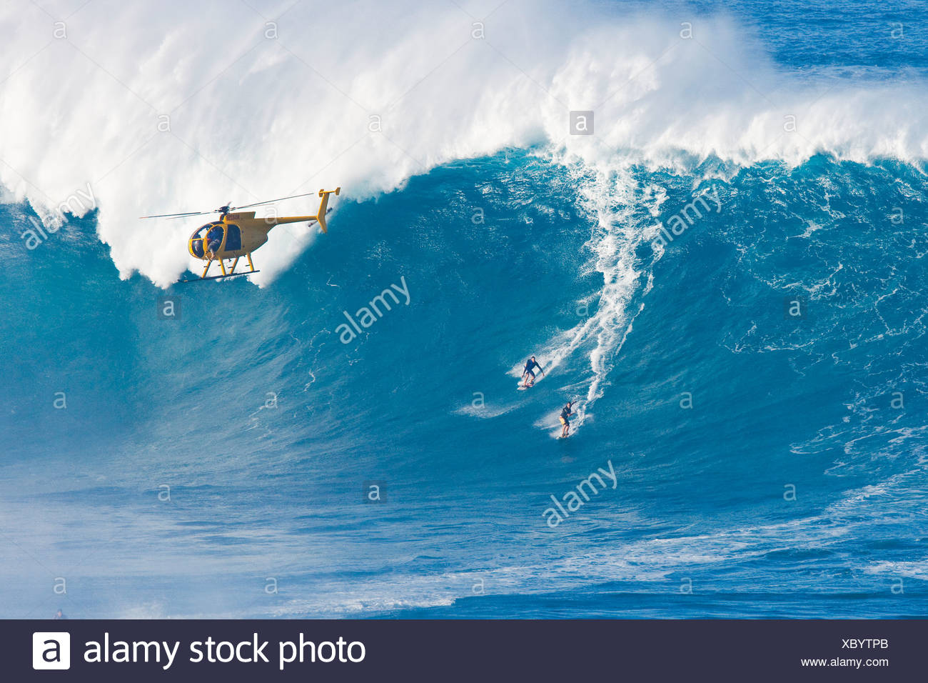 Big Wave Surfing With Helicopter Stock Photos Big Wave