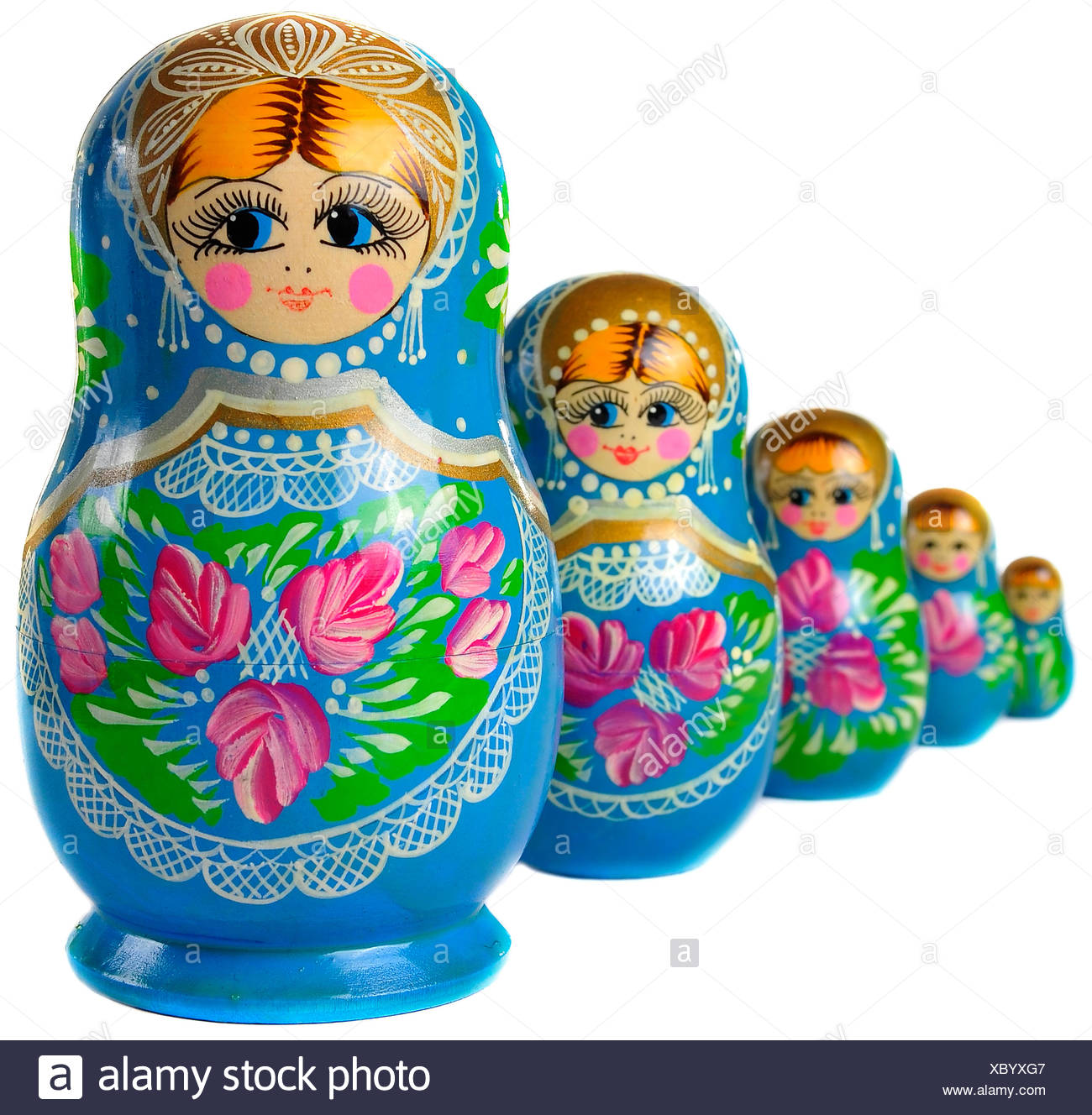 isolated wood playful toy offspring doll mother mom ma mommy growth pattern souvenir collection set figurine nested slavic - Stock Image