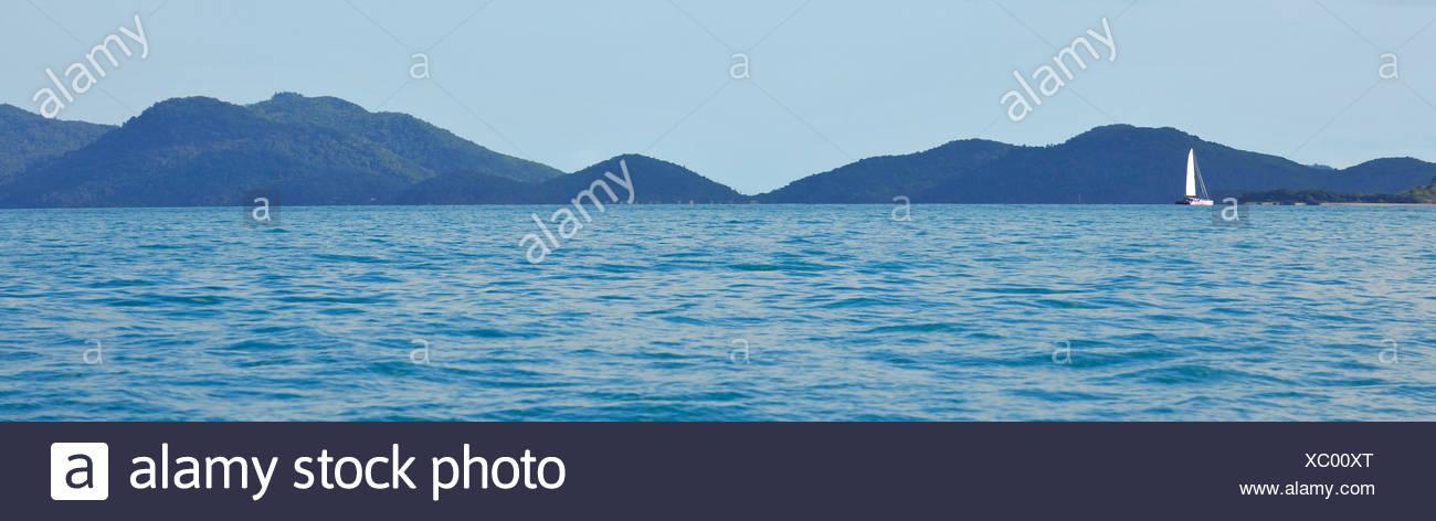 Panoramic view, sailboat, Whitsunday Islands National Park, Queensland, Australia - Stock Image
