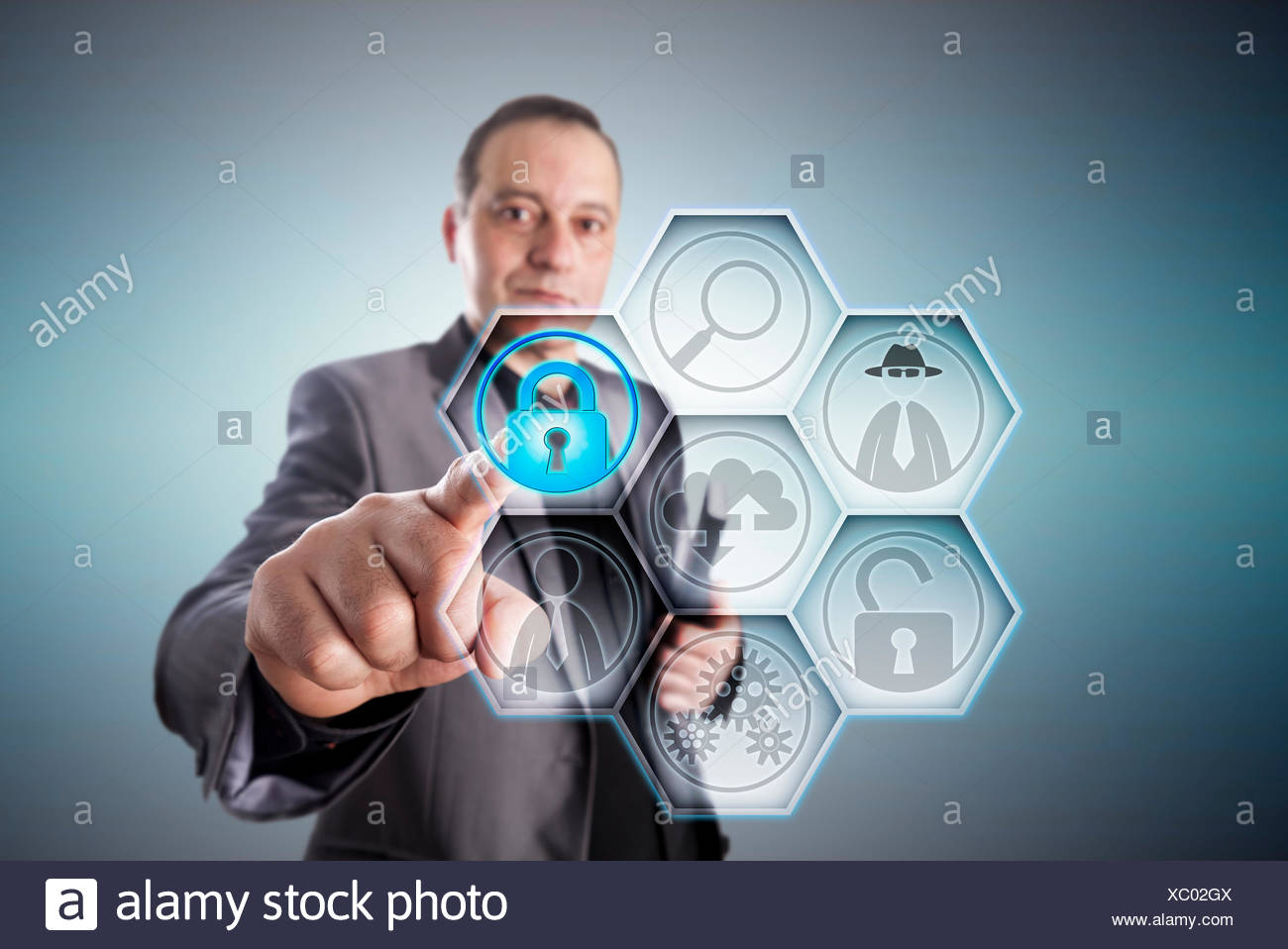 Business Man Locking A Padlock To Prevent Fraud - Stock Image