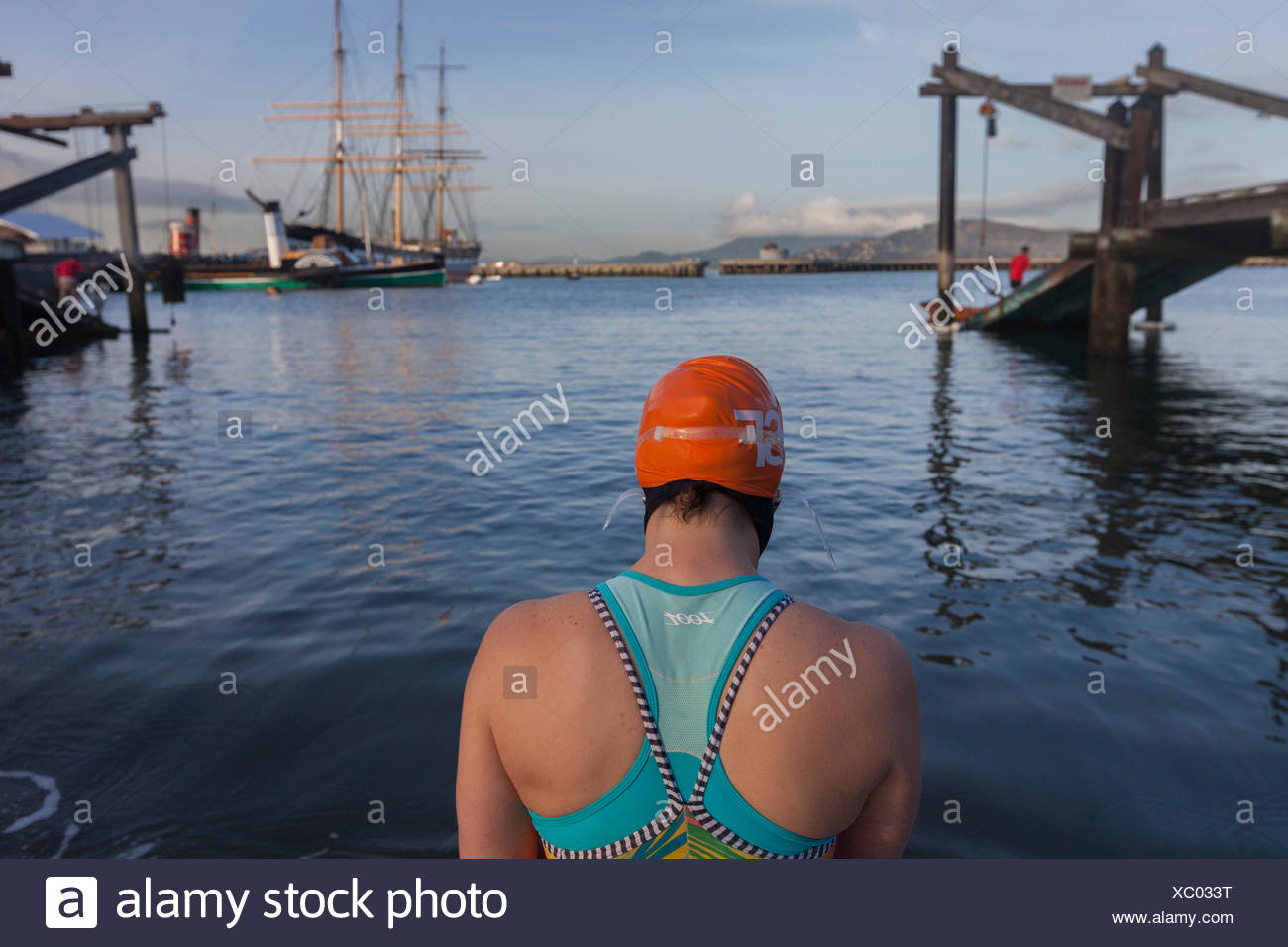 rear view of person in swimsuit, Dolphin Club, San Francisco, California, USA - Stock Image