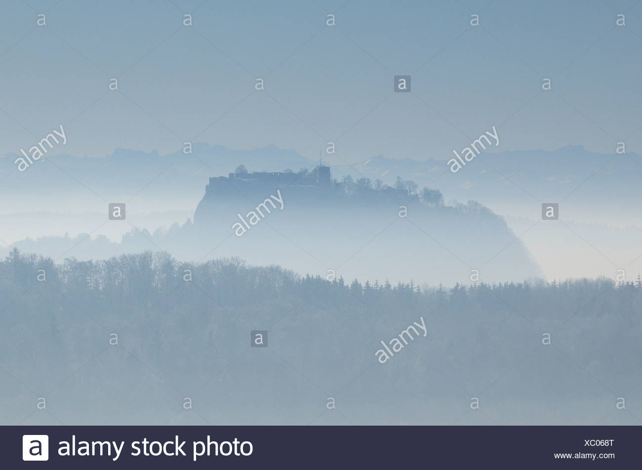 Hohentwiel, volcano in the Hegau landscape, backlight, Konstanz district, Baden-Wuerttemberg, Germany, Europe - Stock Image