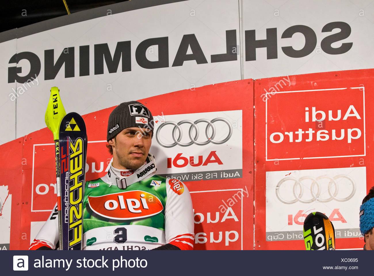 Flower ceremonie, Mario Matt, FIS Ski Worldcup, Slalom men, Schladming, 2008, Nightrace, Styria, Austria - Stock Image