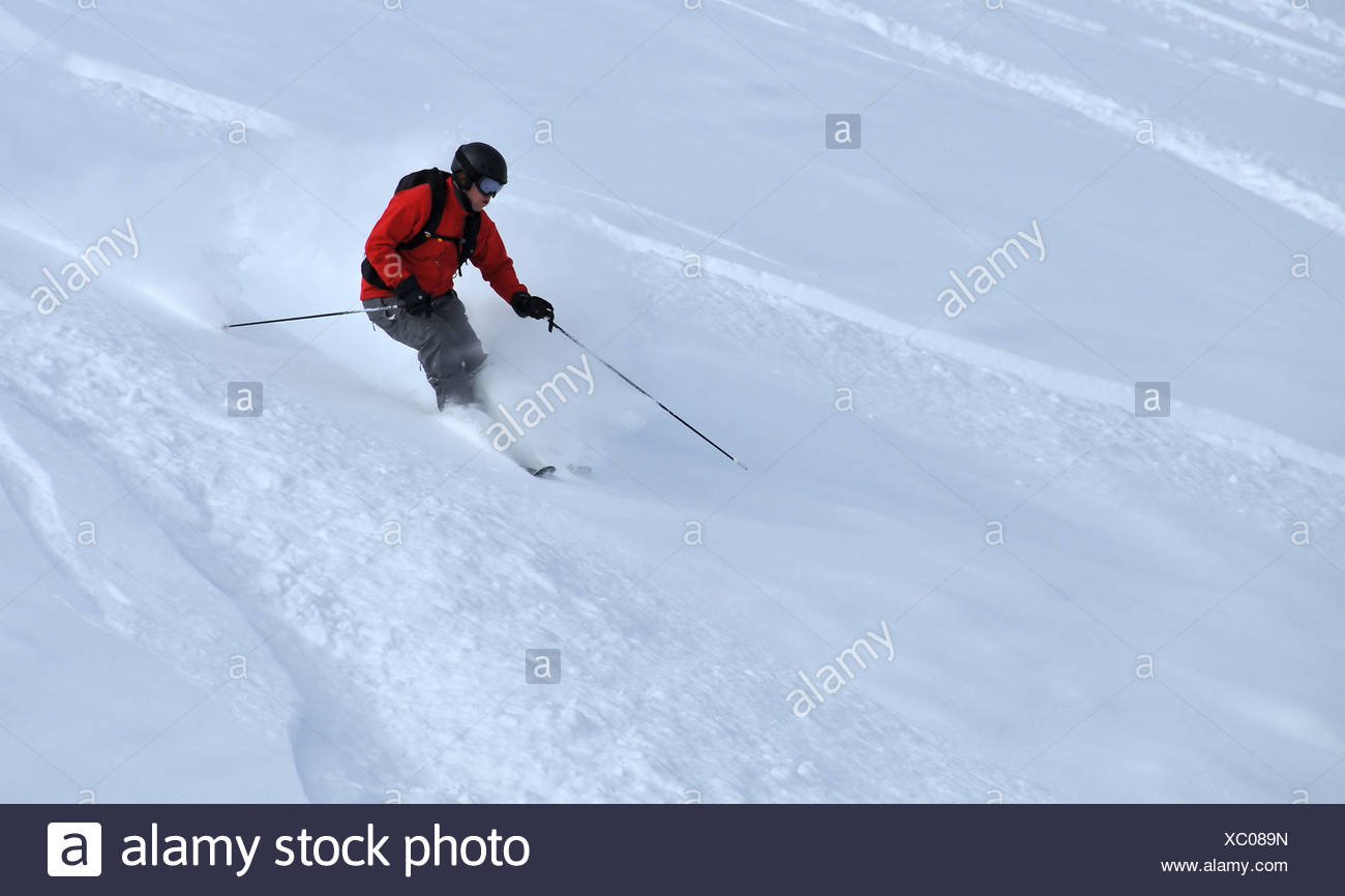 alps; batons; danger; dangerous; dare fright; goggles; helmet; jacket; mistake; mountains; protect; resort; safety scary; - Stock Image