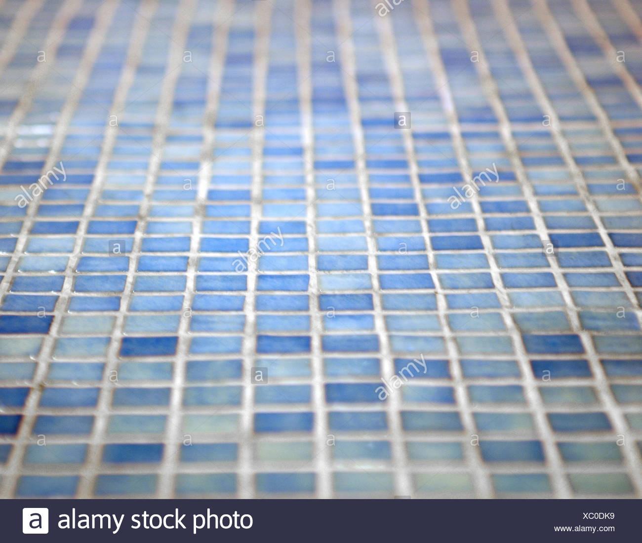 Mosaic floor, blue, floor, mosaic floor, tiles, tiled, mosaic, bathroom, bath, bathroom floor, turquoise, light blue, pattern, squares, mosaic tiles, blue turquoise, no people, blur, - Stock Image