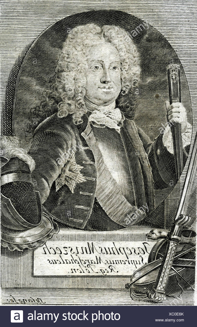 Mniszech, Josef Wandalin, 1670 - 1797, Polish politician, Great Crown Marshall 1713 - 1742, half length, engraving by Sysang, 118th century, Poland, Lithuania, minister, , Artist's Copyright has not to be cleared - Stock Image