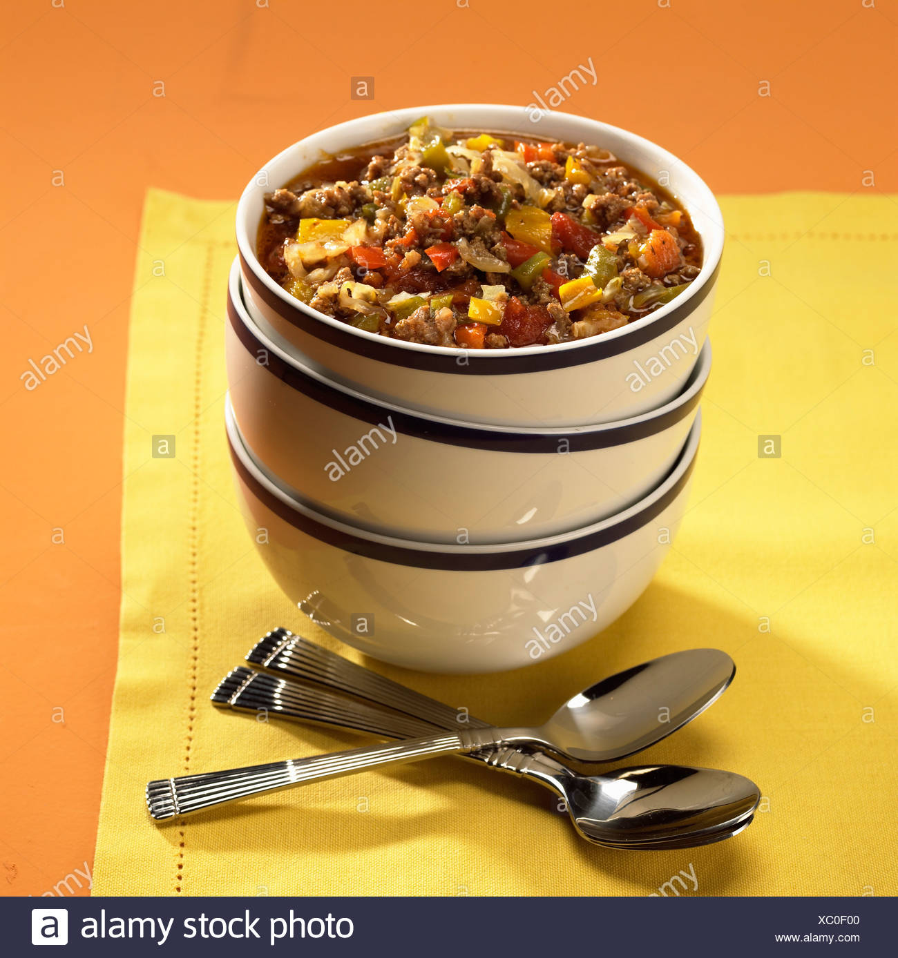 Close up of bowl of beef pepper pot - Stock Image