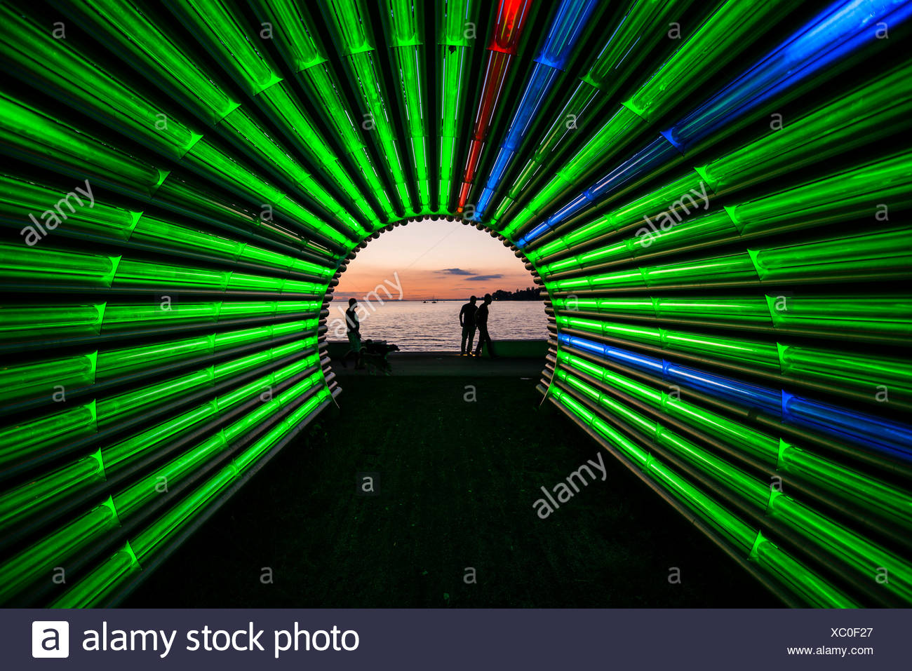 Light tunnel by the artist Gerry Ammann, looking towards Lake Constance, at sunset, Bregenz, Vorarlberg, Austria Stock Photo